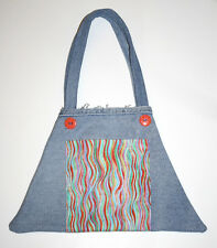 Handmade Denim Tote Made from Recycled Jeans with Pocket and Buttons Purse Bag