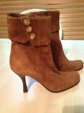 CHARLES DAVID BROWN SUEDE ZIP UP ANKLE BOOTS SIZE EU 36 1/2 US 6 NWOB