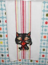 Vintage Halloween Black Cat Striped Tea Towel Kitchen Linen Cotton 1950's
