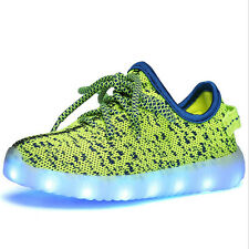 Boys Girls Colorful LED Light Up Sport Flats Sneakers Kids Breathable Baby Shoes
