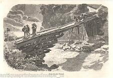 Antique print Bridge Switzerland Tessino / Ticino Suisse holzstich Tessin 1879