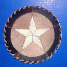 """Western Cabin Lodge Decor Cowhide 10"""" Round Rawhide Hand Laced Trivet"""