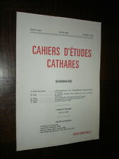 CAHIERS D'ETUDES CATHARES - N°108 - Hiver 1985 - Catharisme