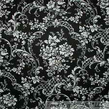 BonEful FABRIC FQ Cotton Quilt Black White B&W Flower Damask Shabby Chic Cottage