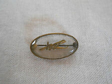 Vintage etched glass bi plane scarf, collar brooch pin