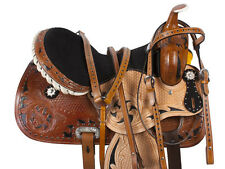 "15"" 16"" INLAY BARREL RACING LEATHER TRAIL WESTERN HORSE SADDLE TACK SET"