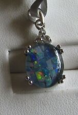 Genuine Mosaic Opal Pendant in 925 Sterling Silver with Topaz Accents