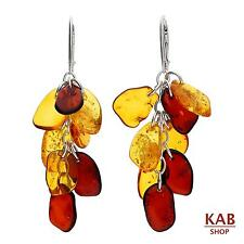 COGNAC AND CHERRY  BALTIC AMBER STERLING SILVER 925 JEWELLERY EARRINGS. KAB-236