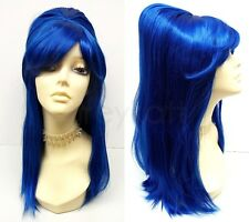 Blue Beehive Wig Long Straight Retro Sixties 60s Costume Cosplay 17""