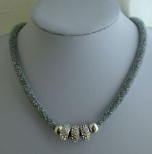 Modern Silver Mesh Necklace with Silver Bead Diamante Rings Statement Necklace