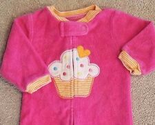 CARTER'S NEWBORN TERRY CLOTH HOT PINK CUPCAKE FOOTED SLEEP N PLAY OUTFIT