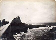 A454 Photographie Originale 1900 Biarritz jetée océan atlantique