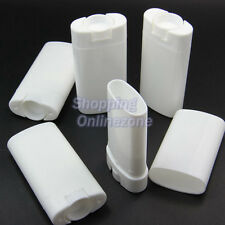 10 Pcs Empty Oval Lip Balm Tubes Deodorant Containers White 15ml