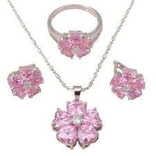 JS523 #7 Pink Crystal Fashion jewelry set Silver Filled Earring Necklace Ring