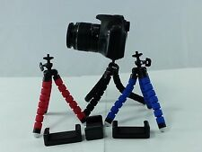 Red Mini Flexible Spider Tripod + Cell Phone Holder Canon Nikon Sony DSLR Camera