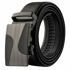 Veronz Men's Wide Black Leather Slide Belt Ratchet Belt Buckle 98B21