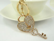 KC017 Love Lock Key Keyring Swarovski Crystal Charm Pendant Key Bag Chain Gift