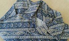 Vintage Polo Ralph Lauren Paisley Indigo Blue Tan Camp S/S Shirt XL bandana