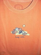 """NWT LIFE IS GOOD MEN S/S TEE... JAKE  CHILLIN ON THE LOG....""""LOG OFF""""....(S)"""