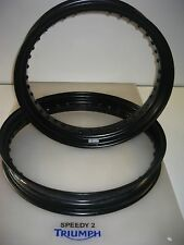 TRIUMPH BONNEVILLE SCRAMBLER GENUINE TRIUMPH FRONT & BACK WHEEL RIMS BLACK