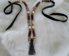Native American Buffalo Tooth Bone Necklace Silver Picasso Jasper Beads Regalia