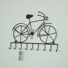 Black metal bicycle wall hooks home shabby vintage chic gift bike keys holder