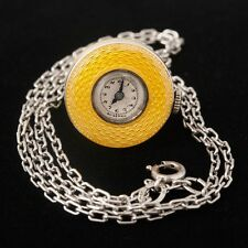 RARE Antique Lady's Pendant Watch Yellow Enamel Bell Swiss Working Mechanical