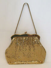 VINTAGE 1940s 50s WHITING AND DAVIS ? GOLDEN METAL MESH HANDBAG EVENING BAG