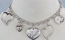 GUESS Damen Bettelarmband Armband Armkette Farbe silber HERZ LOVE UBB11323 NEU 7