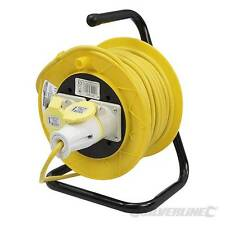 SILVERLINE 110V 25M EXTENSION LEAD CABLE REEL 2 SOCKET 16AMP 1.5MM SITE WORKSHOP