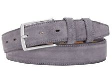 Italian Leather Belt  - Real Suede grey 34 (avail 34 - 46) 85 cm