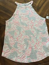 NWT Gap Halter Pink/ Coral And Gray Leaf Print Top Size Small