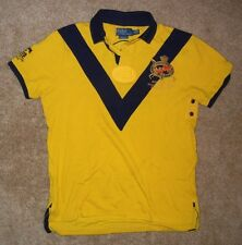 POLO RALPH LAUREN Bright Yellow Rugby RIDERS JOCKEY CLUB SHIRT Size Men LARGE