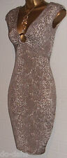 JANE NORMAN Sexy Snake Skin Bodycon Wiggle Diamante Ring Buckle DRESS Sm Size 10