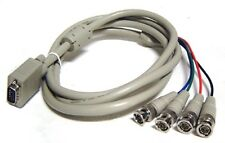 4 BNC RGB RGBS To D-sub HD15 VGA Video Adapter Cable - 6 FT