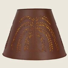 "Country large 17"" red tin punched WILLOW  lamp shade / nice"