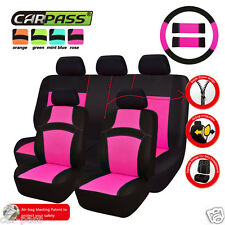 Universal Premium Hot Pink Full rear Interior Car Seat Cover Set Airbag Fit Seat