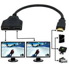 HDMI 1 Male To Dual HDMI 2 Female Y Splitter Cable Adapter HD LED LCD TV MT