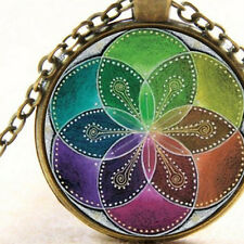 Seed of Life, Sacred Geometry Divine Universal Bronze Necklace Mandala Vibration