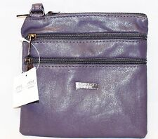 Ladies Wowens Small Faux Leather Cross-Body/Shoulder Bag with 4 Zip Compartments