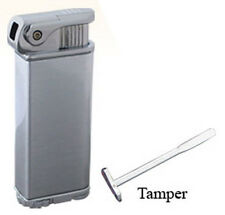 Silver Eternity Refillable Angled Flame Pipe Lighter with Tamper Poker Tool 3404