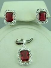 Turkish Handmade Hurrem Sultan 925 Sterling Silver Ruby Ladies' Earring Set