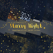 Starry Night Digital Paper Backgrounds, Star Night Sky Digital Paper,Gold Stars