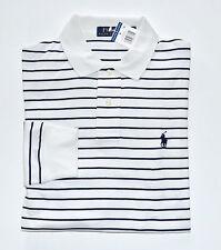 NWT Men's Ralph Lauren Long-Sleeve Jersey Polo Shirt, White, Blue, M, Medium