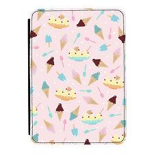 Ice Cream Sundae Pattern Sweets Pink iPad Mini 1 2 3 PU Leather Flip Case Cover