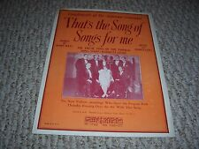 1929 That's The Song of Songs For Me Forhan Song Shop New Yorkers Sheet Music