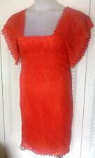 Vtg YOUNG EDWARDIAN 1960's FLUTTER Sleeve Orange LACE Sheath Dress Aprox Size 8