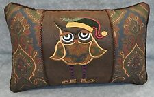 Owl Embroidered & Appliqued Pillow made w/ Ralph Lauren Brianna Paisley Fabric