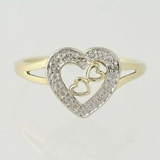 Heart Ring - 10k Yellow White Gold Diamond Accents 3-Hearts