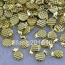 100PC Gold Pineapple 3D Metal Nail Art Decoration Accessories Nail Supplies Tool